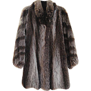 Estate Car Coat Raccoon Fur Coat Size M L  Excellent