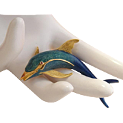 Vintage BIRKS Large 18k Gold Enamel Dolphin Brooch Pendant
