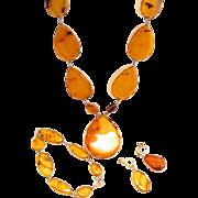 Vintage 14K Gold Genuine Amber Pendant, Bracelet and Earrings Set
