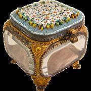 Antique Italian Micro Mosaic Jewelry Casket Glass Box Vitrine