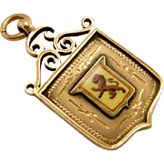 Antique 10k 375 Gold Rampant Lion Watch Fob