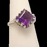 Edwardian Sterling Silver Amethyst Filigree Ring