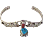 REDUCED Vintage Navajo Sterling Silver Turquoise and Coral Bracelet