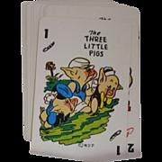 Vintage 1965 Disney Three Little Pigs Card Game