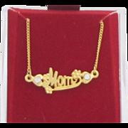 Vintage Gold tone Metal Mother's Necklace