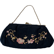 Antique Silk Embroidered Purse Circa 1900