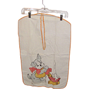 Vintage Hand Appliqued Puppy Laundry Bag Circa 1930's