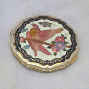 REDUCED Vintage Enameled Parrot and Floral Compact
