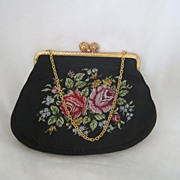 REDUCED Vintage Silk and Embroidered  Purse Circa 1940's