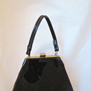 REDUCED Vintage Black Patent Leather Purse Circa 1960's