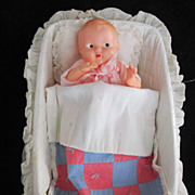 REDUCED Vintage Circa 1950's Irwin Doll and Cradle Set All Original!