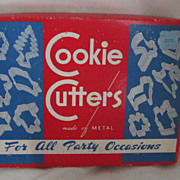 REDUCED Vintage Circa 1940's One Dozen Metal Cookie Cutters All Occasion Original Box