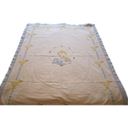 REDUCED Vintage Hand Embroidered Baby Blanket Circa 1930