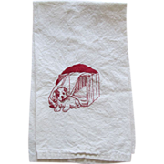 REDUCED Red Embroidered  Puppy Tea Towel