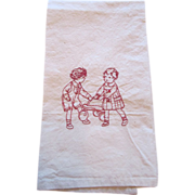 REDUCED Red Embroidered  Children Muslin  Tea Towel