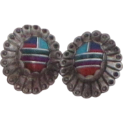 REDUCED Vintage Zuni Sterling Silver Turquoise, Coral and Lapis Inlaid Earrings