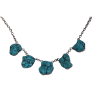 REDUCED Vintage Navajo Custom Handmade Turquoise Nugget And Sterling Silver Necklace