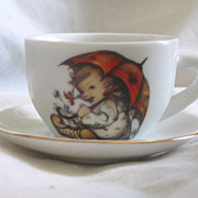 REDUCED Vintage Hummel Porcelain Doll Size Cup And Saucer TOO Sweet !