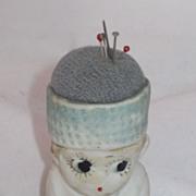 REDUCED Vintage Sewing  Bisque Doll/ Pincushion Circa 1920