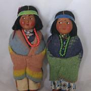 REDUCED Vintage Pair Of Skookum Indian Dolls Circa 1950's