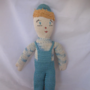 REDUCED ADORABLE Vintage Circa 1940's Handmade Doll Just Too Cute!