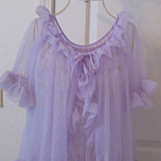 REDUCED Vintage 1970's See Through Medium Size Lavender Peignoir Night Set SEXY!