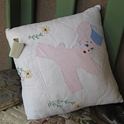 REDUCED Sweet Vintage Hand Embroidered Puppy Pillow ADORABLE!