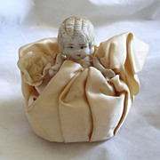 REDUCED Adorable Vintage Bisque Pin Cushion Doll