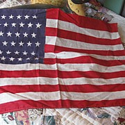 REDUCED Primitive Vintage Flag 48 Stars 16 1/2  Long x 11 1/2 inches Wide
