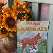"REDUCED Vintage Children's Book ""Farm Animals"" AMAZING Art Work Circa 1950's!"