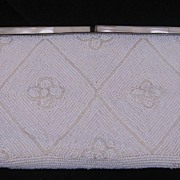 REDUCED Vintage White Heavily Beaded Mother Of Pearl Purse/ Evening Bag Circa 1950's