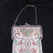REDUCED Antique Enamel Mesh Purse Signed Mandalian Mfg. Co.