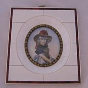 Antique European Decorative  Miniature Portrait Child In Celluloid Frame