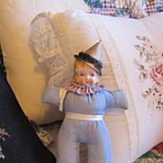 REDUCED Antique China Head Pin Cushion Doll All Original