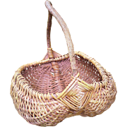Large Woven Willow Buttocks Basket-1900's