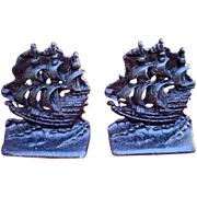 Cast Iron Spanish Galleon Ship Bookends-1940's