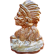 Cast Iron Indian Chief Bookend or Doorstop-1900's