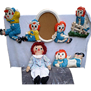 Raggedy Ann Knickerbocker 20'' Doll with Matching Wall Plaques- Set of Four
