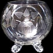 Crystal Cut Glass Footed Bowl-Rose Bud Design- Elegant & Flawless