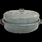 Vintage Turkey Roaster-Mottled Gray Graniteware-1900's