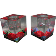 Vintage Acrylic Candle Holders with Silk Rose Inserts- Holiday Table Decor 1960's