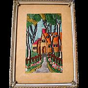 Vintage Framed Embroidered Cottage Scene-1900's