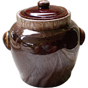 Vintage Hull Cookie Jar Brown Drip Glazed Redware-1960's