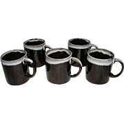 Vintage Hull Redware Drip Glazed Coffee Cups-1960's( Set of 5)