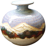 North Carolina Art Pottery Vase Beautiful Mtn. Scene Drip Glaze