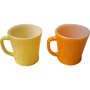 Fire King Coffee Cup Set-Yellow & Orange -1950's