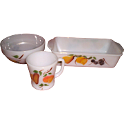 Fire King Mixing Bowl, Coffee Cup, Baking Dish(Loaf Pan)- Gay Fruit Design-Set of ...