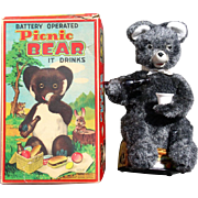 "1950s Battery operated ""Picnic Bear"" in Original Box  Japan"