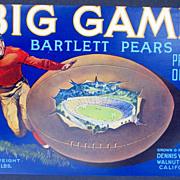 """Football """"Big Game"""" '30s Fruit Label Walnet Grove, CA Original"""