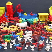 Playset 1950s Auburn Rubber Farm Set 120 pieces